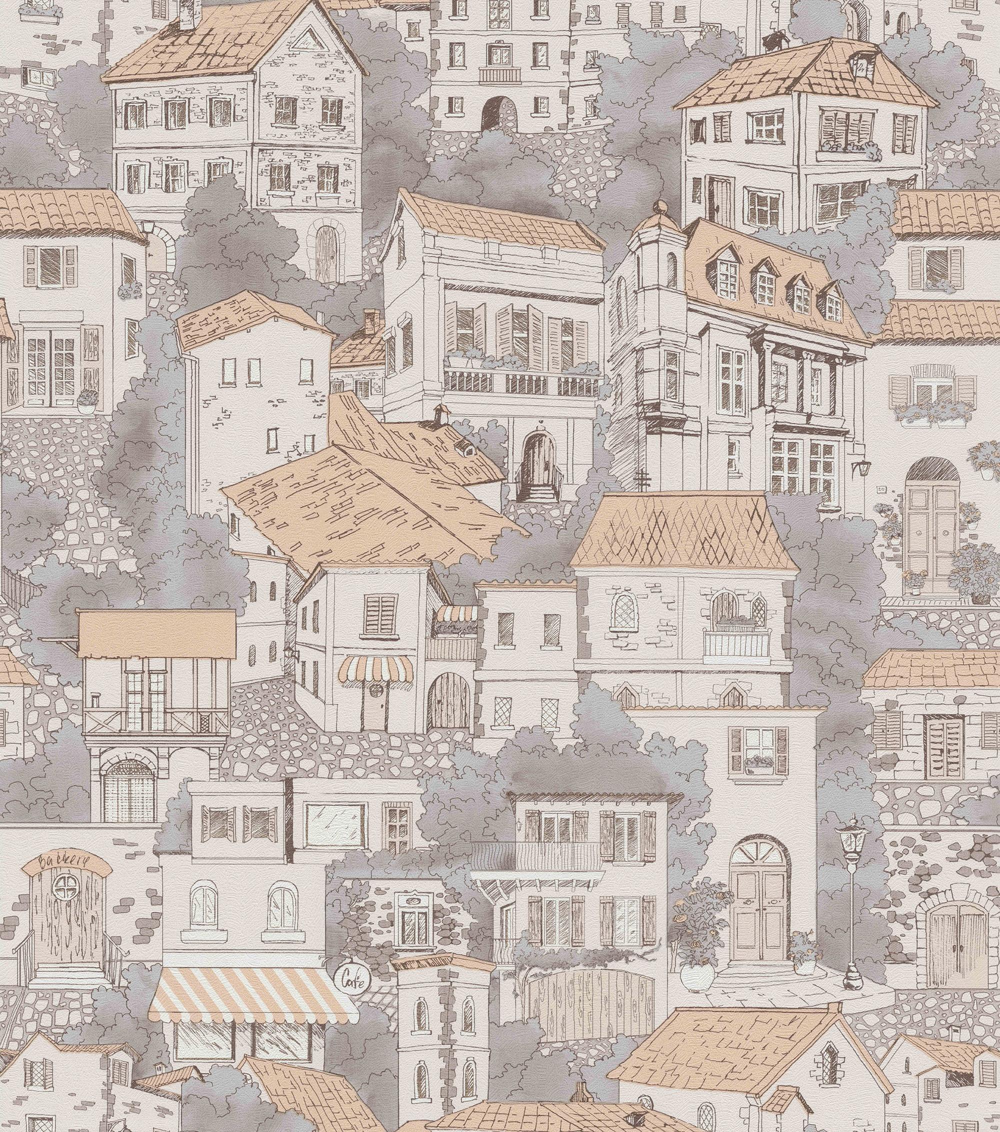 обои с рисунком города для стен искать